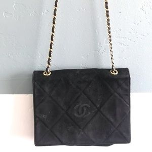 Authentic Vintage Chanel Suede Shoulder Bag